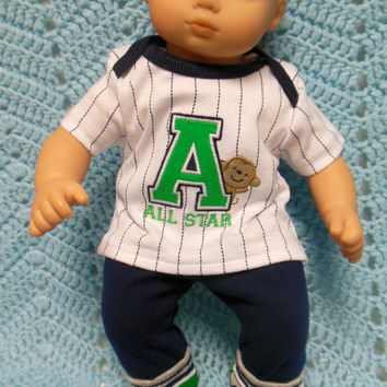 """American Girl Bitty Baby clothes Bitty Twins Boy """"A is for A-Game"""" (15 inch)  playset top pants shorts socks monkey sports"""