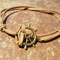 Brown Leather Bronze Rudder Bracelet Anklet Charm Men Women Unisex Fashion New Love Cute Diy Friendship