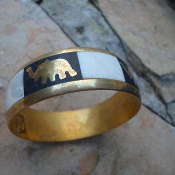 Elephant Bangle Bracelet of Brass and Mother of Pearl
