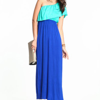 COLOR BLOCK ONE SHOULDER MAXI DRESS