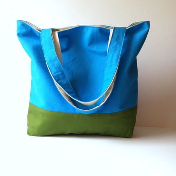 Reversible Canvas Tote - Color Block Tote Bag - Beach Bag - Summer Tote Bag