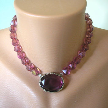 Great Gatsby Jewelry, Art Deco Jewelry, Downton Abbey, Radiant Orchid, Purple Choker, Wedding Jewelry, Bridal Necklace, Amethyst Choker