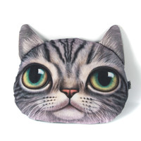 Gray Big Eyes Cat Cushion