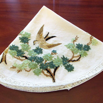 Vintage Bird Crewel Small Round Tablecloth