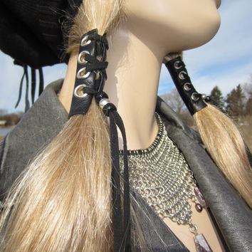 2  Hair Wraps Black Leather Tie Beaded Ponytail Holder Hair Jewelry Extensions