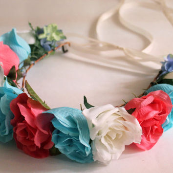 Pink Flower Crown, Blue Flower Crown, Flower Headband, Rose Crowns, Flower Girl Headbands, Floral Crowns, Coachella Festival Headbands