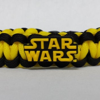 Star Wars Bracelet, Star Wars, Star Wars Jewelry, Yellow and Black Bracelet, Custom Star Wars Bracelet. 26 Colors to choose