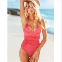 SIMPLE - Fashionable Sexy Halter High Waisted Monokini Swimwear Swimsuit b4095