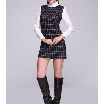 High Ruffle Neck Plaid Dress