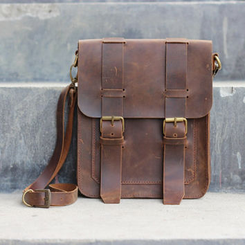 Leather Satchel / Mens Leather Satchel / Brown Hip Bag / Leather Purse / Shoulder Bag - Distressed Leather Bag / Leather Satchel Purse