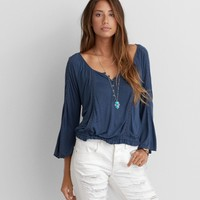 AEO LACE INSET PEASANT TOP