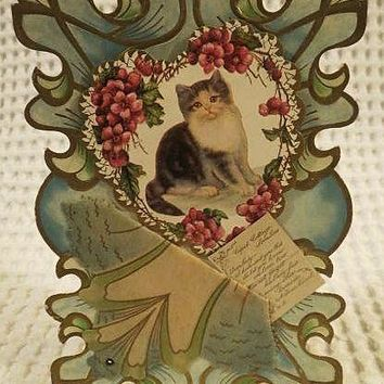 Early Stand up Art Nouveau Valentine Card with Cat In Heart