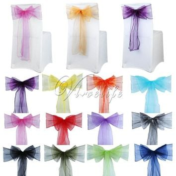 50pcs Organza Chair Sash Bow For Cover Banquet Wedding Party Event Xmas Decoration Sheer Organza Fabric Supply 18cm*275cm