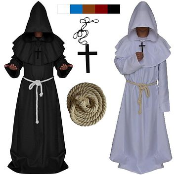 New Original Mens Church Medieval Renaissance Priest High Priest Monk Druid 5 Color Cosplay Costume Halloween Robe Cloak Adult