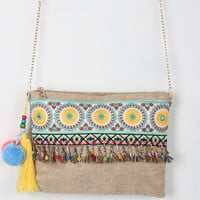 Embroidered Boho Beaded Pom Pom Bag
