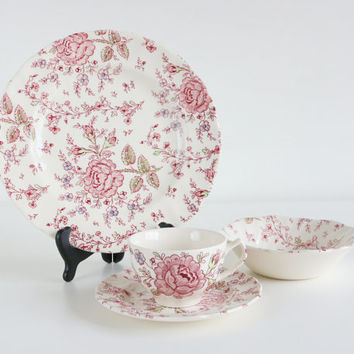 Rose Chintz by Johnson Bros China Set With Genuine Hand Engraving/English Dinnerware/Wedding Bridal Gifts/Pink Floral/Holiday Decor