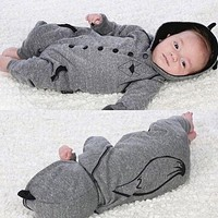 Newborn Baby Boy Girl Clothing Fox Hooded Clothes Outfits Jumpsuit Rompers Cute Warm Baby Boys Playsuit 0-24M