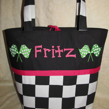 Custom Handmade racing flag checkered flag diaper bag or tote you choose name and colors