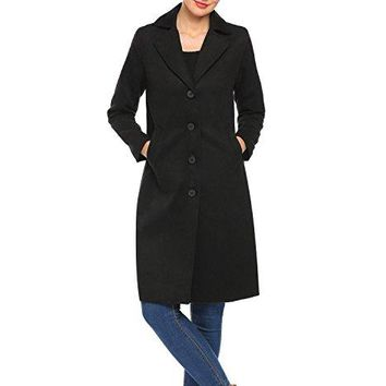 Zeagoo Women Trench Coat Solid Long Jacket Outwear Cardigan Overcoat Peacoat