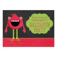 Red Monster Halloween Party Invitation
