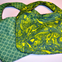Baby bibs.  Terry cloth back St. Patrick's Day baby bibs, set of 2 in green prints, Ready to ship!