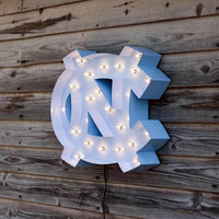UNC Tarheel Marquee Light Sign Decor -American Made NCAA Dorm Office Man Cave She shed North Carolina Garage Rameses Tar heel heels