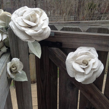 Giant Book page roses. jumbo paper flowers. paper flowers. Wedding centerpiece. Vintage flowers. Bridal bouquet. 2015 wedding trends.