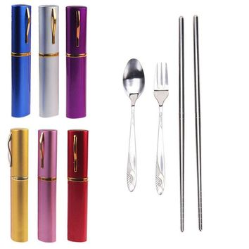 Hot 3in1 Cutlery Set Fork Travel Fold Stainless Steel Tableware Tableware Portable Camping Bag Picnic