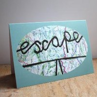 Escape map ribbon lettering blank greeting card by memake on Etsy
