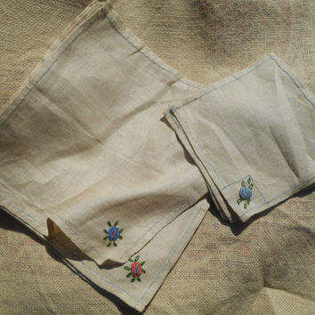 12 Victorian Off White Natural Linen Tea & Lunch Napkins Set French Hand Embroidered Unused