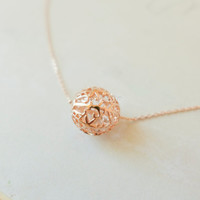 filigree ball necklace in rose gold, pink ball necklace, filigree lace ball charm necklace