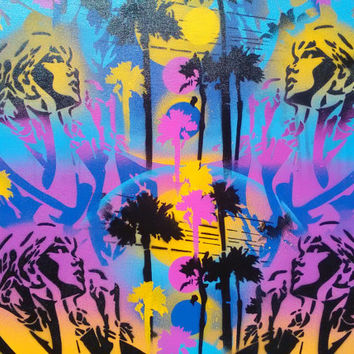 Paradise painting,woman,palm trees,stencil art,spray paint art,yellow,purple,blue,abstract,beach,sunshine,pop art,comics,street art,surfing