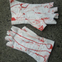 corpse BRIDE fingerless gloves BLOOD SPLATTERED white corpse bridal gloves frankensteins lady halloween costume