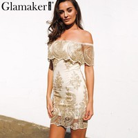 Glamaker Off shoulder black floral embroidery dress Women sexy mesh bodycon dress vestidos Christmas elegant party club dress
