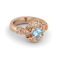 SR Jewels 1.00CT 18K Rose Gold Finish Aquamarine Disney Princess Pocahontas Engagement Ring For Women's