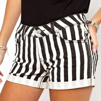 Black and White Stripes Folded Hem Shorts