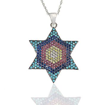Sterling Silver Rainbow Gem Jewish Star Necklace