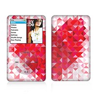 The Geometric Faded Red Heart Skin For The Apple iPod Classic