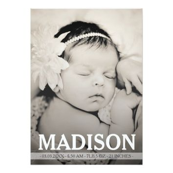 """Typography Baby Girl Birth Announcement Photo Card 5"""" X 7"""" Invitation Card"""