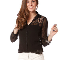 Papaya Clothing Online :: LACE AND MESH BLOUSE