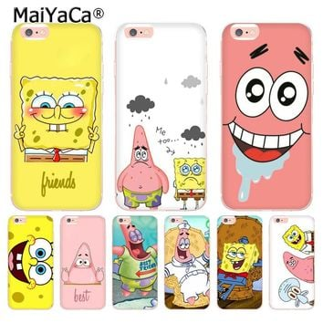 MaiYaCa For iphone 7 6 X Case Best Friends Forever BFF Spongebob Transparent Phone Case for iPhone 8 7 6S Plus X 5 5S SE 5C 4S