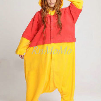 KIGURUMI Cosplay Romper Charactor animal Hooded Nightclothes Pajamas Pyjamas Costume sloth Onesuit outfit Sleepwear-winnie pooh animal Onesuit