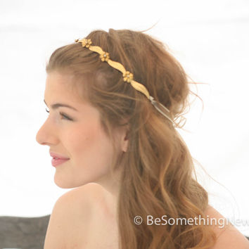 Wired Gold Leaf and Flower Simple Headband, Wedding Hair, Headpiece, Wedding Hair Accessory, Special Occation Headband with Ribbon Ties
