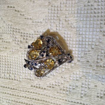 Vintage Handmade Citrine and Genuine Sapphire 925 Sterling Silver Rhodium Brooch