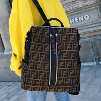 FENDI Newest Fashionable Woman Men Canvas Travel Bookbag Shoulder Bag Backpack