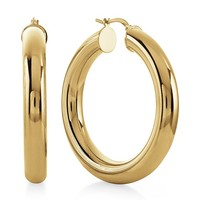 Grazie Italiana Collection: Gold-Plated Bronze Puffed Polished Large Hoop Earrings