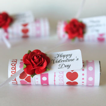 Mint Favor or Valentine - small valentines gift, valentine's day, red, pink, white, satin ribbon, red rose