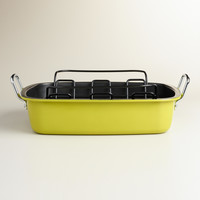 Cress Green Enamel-on-Steel Roaster with Rack - World Market