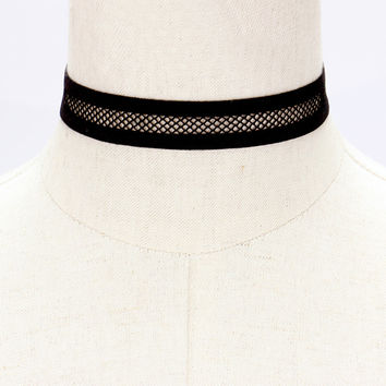 "12"" black net stretch choker necklace .75"" wide"