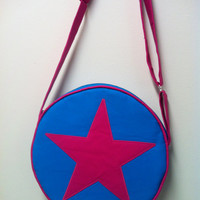 NEW DEEP PINK Ramona Flowers from Scott Pilgrim Star bag, subspace suitcase with adjustable strap, Deep pink, aqua blue